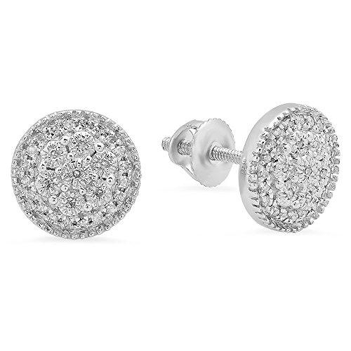 Dazzlingrock Collection 0.15 Carat (ctw) 10K Round White Diamond Ladies Circle Shape Cluster Fashion Stud Earrings, White Gold