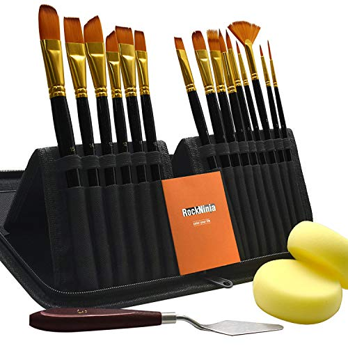 (Rock Ninja New 15Pcs Artist Paint Brushes Set Includes Pop-up Carrying Case,for Acrylic, Oil, Watercolor, Creative Body Paint and Gouache Painting)