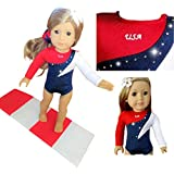 American Doll USA Olympics Gymnastics Outfit With GYMNASTICS Mat | 18-inch Doll Clothes & Accessories | Outfits for American Girl Dolls | Doll Connections | Tammy Lee Designs (3 Piece Set)