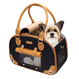 Dog Carrier, Pet Carrier, PetsHome Foldable Waterproof Premium Nylon Pet Travel Portable Bag Carrier for Cat and Small Dog Home/Outdoor Black