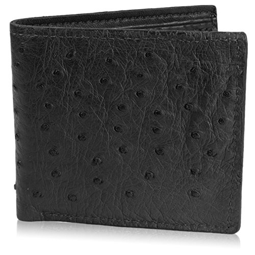 Genuine Ostrich Skin Leather Bifold Wallet with 8 Card Slots (Black)