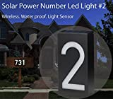 Solar Powered House Address Number LED Light, Bright Wireless Custom House Plaque Plate - Waterproof Light Sensor -for Patio Path House Garden-Number #2~ by Cafolo