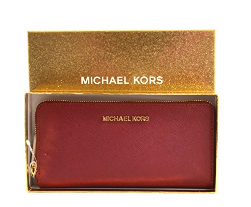 Michael Kors Giftables Jet Set Zip Around Continental Saffiano Leather Wallet Clutch (Cherry)