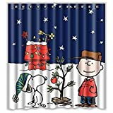 "Susenstone Custom Merry Christmas Fabric Waterproof Bathroom Shower Curtain 66"" x 72"""
