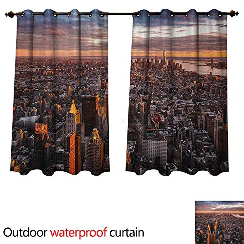 Anshesix USA Outdoor Balcony Privacy Curtain Aerial View of The Manhattan Skyline at Sunset Famous Financial District NYC W72 x L63(183cm x 160cm) (Hotel With Nyc Balcony)