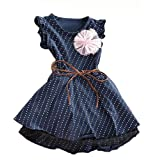 Yo Coco Girls Blue Summer Sleeveless Polka Dot Floral Dresses Party Belt Skirts