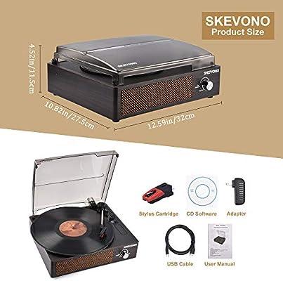 SKEVONO - Tocadiscos portátil de 3 velocidades, reproductor de ...