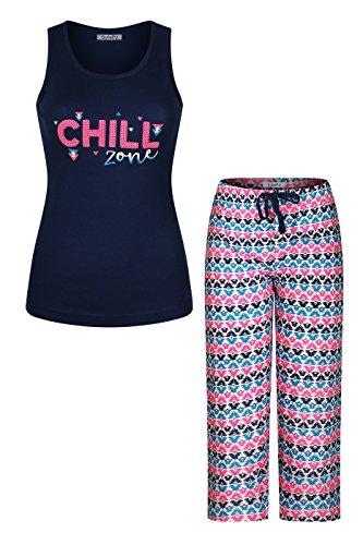 SofiePJ Women's QQQQEmbroidery Cotton Pajama Set Jersey Racerback Tank Top with Capri Pants Set Black Teal L(544969)