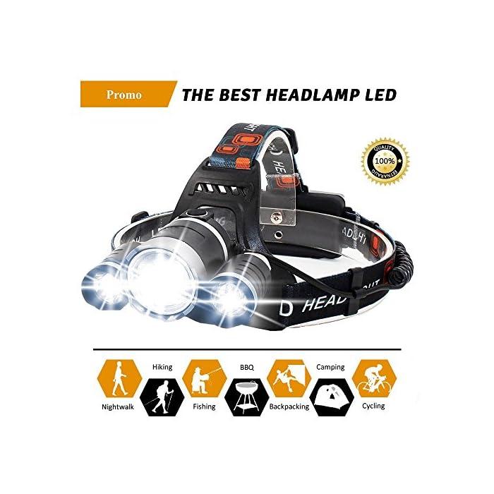 Linterna Frontal Led Recargable Alta Potencia Con 4 Tipos de Luz | Batería Dura Más de 6 Horas y Hasta 500 Metros | Luz…