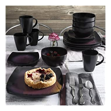 Contemporary Soho Lounge Square Stoneware Geometric Pattern 16-piece Dinnerware Set (purple)
