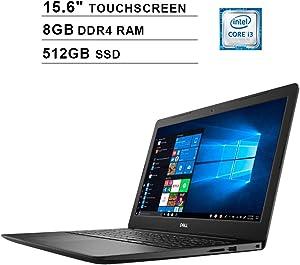 2020 Dell Inspiron 3000 Newest 15.6 Inch Touchscreen Laptop, 8th Gen Intel Dual Core i3-8145U up to 3.9GHz, Intel UHD 620, 8GB DDR4 RAM, 512GB SSD, WiFi, Bluetooth, HDMI, Windows 10