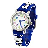 Jewtme Cute Toddler Children Kids Watches Ages 3-8 Analog Time Teacher 3D Silicone Band Cartoon Watch for Little Girls Boys (Football Blue2)