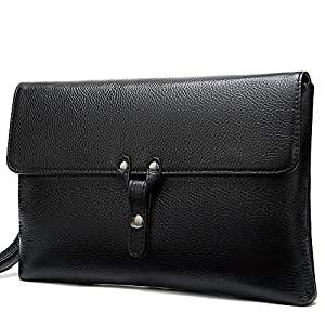 Hbssee- Business Leather Clutch Bag Black Men's Wallet Top Leather Phone Bag Large Capacity Travel Business Work (Color : Black, Size : S)