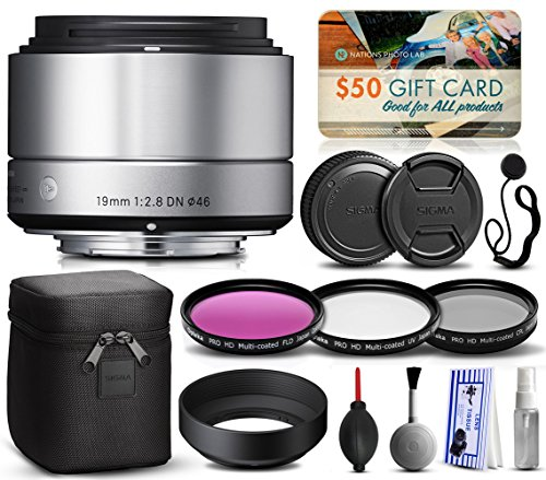 Sigma 19mm F2.8 DN Art Silver Lens for Panasonic/Olympus Micro Four Thirds (40S963) includes 3 Piece Filter Set (UV-CPL-FLD) + Deluxe Cleaning Kit + Air Dust Blower + Cap Keeper Prints by 47th Street Photo