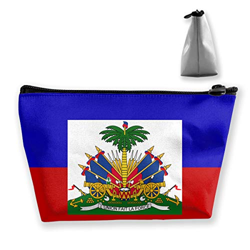 MODREACH Make-Up Cosmetic Tote Bag Carry Case Portable Travel Makeup Case Pouch Toiletry Wash Organizer Haiti Flag
