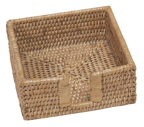 Entertaining with Caspari Rattan Cocktail Napkin Holder, White