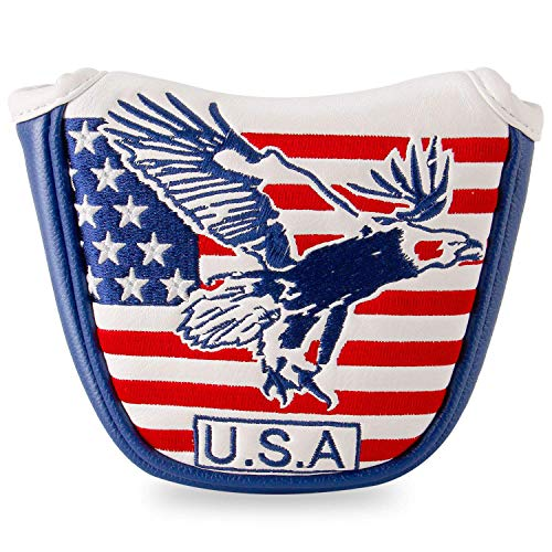 YOPRAL USA Eagle Stars & Stripes Golf Mallet Putter Covers Headcover Club Protector Magnetic Closure for Taylormade, Odyssey, Scotty Cameron Etc