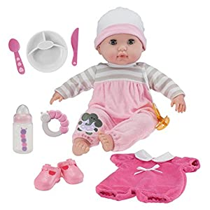 """JC Toys Berenguer Boutique 15"""" Soft Body Baby Doll - Pink 10 Piece Gift Set with Open/Close Eyes- Perfect for Children 2+"""