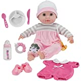 "JC Toys Berenguer Boutique 15"" Soft Body Baby Doll - Pink 10 Piece Gift Set with Open/Close Eyes- Perfect for Children 2+"