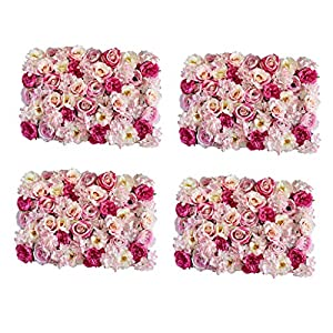 Fityle Pack of 4 Artificial Silk Flower Wall Panel Rose Pink 40 x 60cm 40