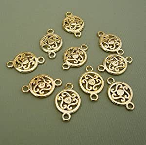beadstreasure 10 connector gold plated round