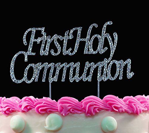 First Holy Communion Bling Silver Cake Toppers Cake Pick by Yacanna