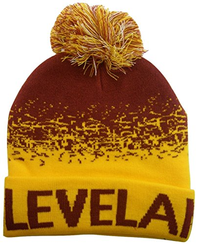 Fade Knit Beanie - Cleveland Men's Digital Fade Soft Fabric Winter Knit Hats (Wine/Gold)