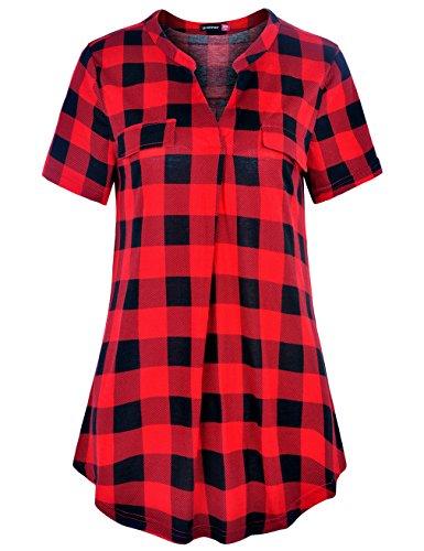 Plaid Womens Tee - Le Vonfort Work Blouses for Women Fashion 2018, Ladies Tops V Neck Tunic Dressy Short Sleeve Shirttail Hem Geometric Plaid Printed Tee Shirt Career Clothes Black Red XX-Large