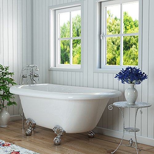 Luxury 54 inch Small Clawfoot Tub with Vintage Tub Design in White, includes Polished Chrome Ball and Claw Feet and Drain, from The Highview Collection (Clawfoot Acrylic Bathtub)