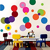 Fymural Polka Dots Wall Decals- Vinyl Wall Decal Dots Removable -Wall Decor Stickers Wall Dots for Bedroom Living Room Kids Boys and Girls