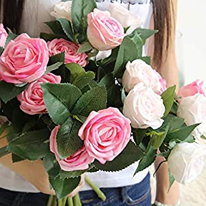 Smileshop01 1pc 2 Heads Rose Flower Artificial Flowers Simulation Silk Flower Wedding Decoration Rose Bouquet Flower Home Decoration,hot Pink 3