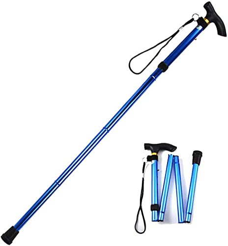 Evealyn Walking Hiking Trekking Camping Stick Pole Canes Foldable, Collapsible, Portable, Lightweight, Adjustable Hand Walking Cane, Mountaineering Crutches Outdoor for Men, Women