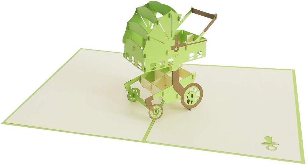 3D Up-PopUp Grußkarte Kinderwagen Babys Taufe Geburtstag Erinnerung Motivation