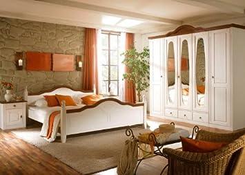 Schlafzimmer komplett Wales Kiefer Massiv Weiß ...