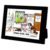 Personalized Friendly Folks Cartoon Caricature in a Color Block Frame Gift: Veterinarian - Female Great for animal hospital, thank you gift, veterinary office
