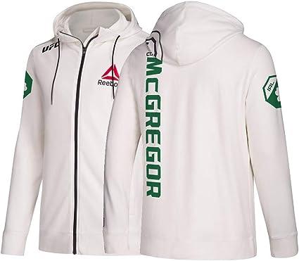 Reebok Conor McGregor UFC Men's Chalk White Fight Night Full Zip Walkout Hoodie CU9185