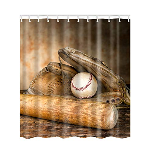 Artown Baseball Shower Curtain, Vintage American Sports Theme Decor Collection Nostalgic Leather Glove Balls, No Liner Waterproof Polyester Bathroom Decor Set with 12 Plastic Hooks, 72 x 72 Inches
