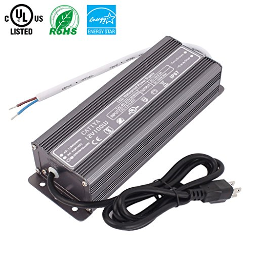 CATIYA IP67 Waterproof LED Driver Transformer, DC 12 Volt 100 Watts Power Supply with 4 Feet Cable US 3-Prong Plug