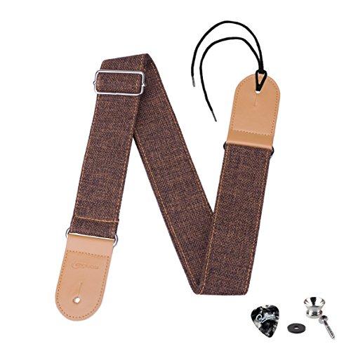 LONGTEAM Guitar Strap Comfortable Cotton Linen Genuine Leath