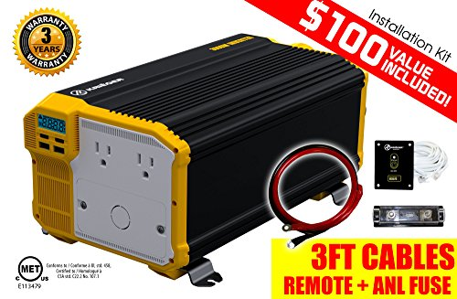KRIËGER 3000 Watt 12V Power Inverter, Dual 110V AC outlets, Automotive back (Double Manual Refrigerator)
