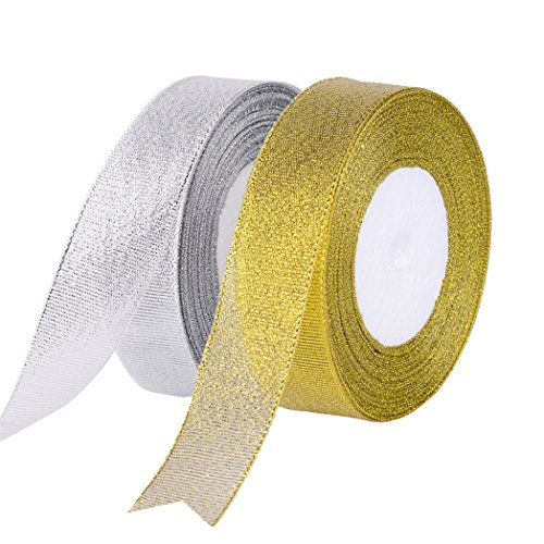 Feyarl Glitter Metallic Sparkle Ribbon 1-inch by 50-yards Curling Ribbon for Gift Crafters Home Decoration Projects (Gold - Curling Grosgrain Ribbon
