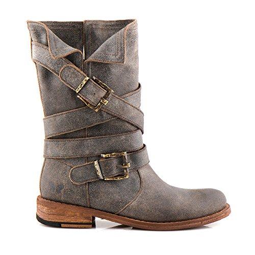 Felmini Hohe Biker Schuhe Damen Gredo Echte Stiefel Cowboy 8562 amp; Verlieben Mehrfarbig Leder x0wxqRf8