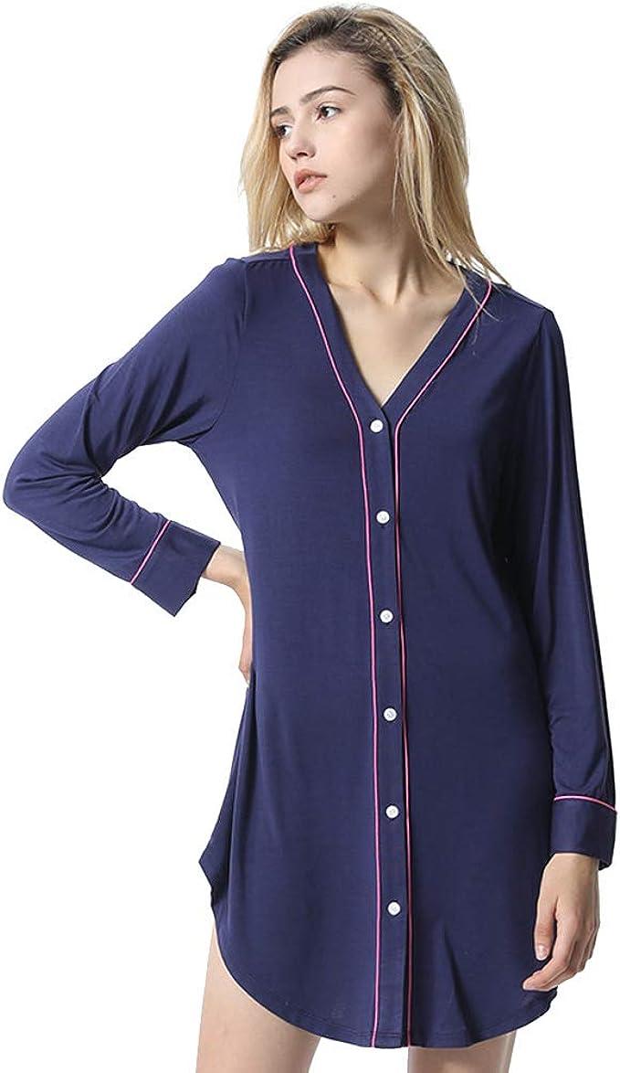 Mujer Camisón Pijama Una Pieza Algodón Cuello V Ropa Dormir ...