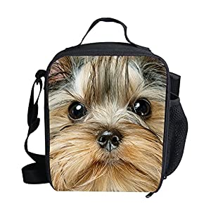 UNICEU Kids Lunch Bag Yorkshire Terrier Print Insulated Lunchbox Gourmet Lunchbag Thermal Tote Bags for School Picnic 1