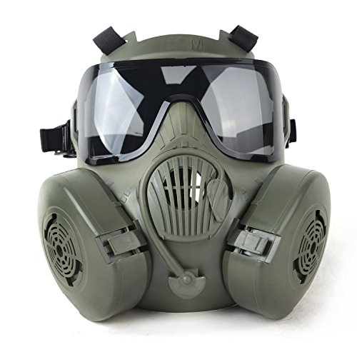 Outgeek M50 Airsoft Mask Full Face Skull CS Mask with Fan (Green)