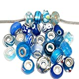 Ten (10) Pack of Assorted Blue Glass Lampwork, Murano Glass Beads for European Style Bracelets