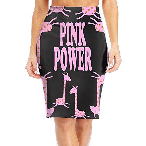 Qi8A Skirts Cool Funny Pink Giraffe Women Slim Waist Print Long Skirts Pencil Skirt (Giraffe Print Skirt)