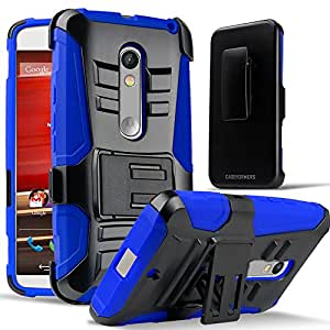 Motorola Moto X Play Case, CASEFORMERS Duo Armor BLUE for Motorola Moto X Play Combo Case with Stand and Holster