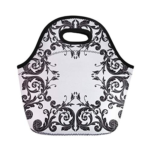 Tinmun Lunch Tote Bag Vintage Baroque Scroll Engraving Border Floral Retro Pattern Antique Reusable Neoprene Bags Insulated Thermal Picnic Handbag for Women Men