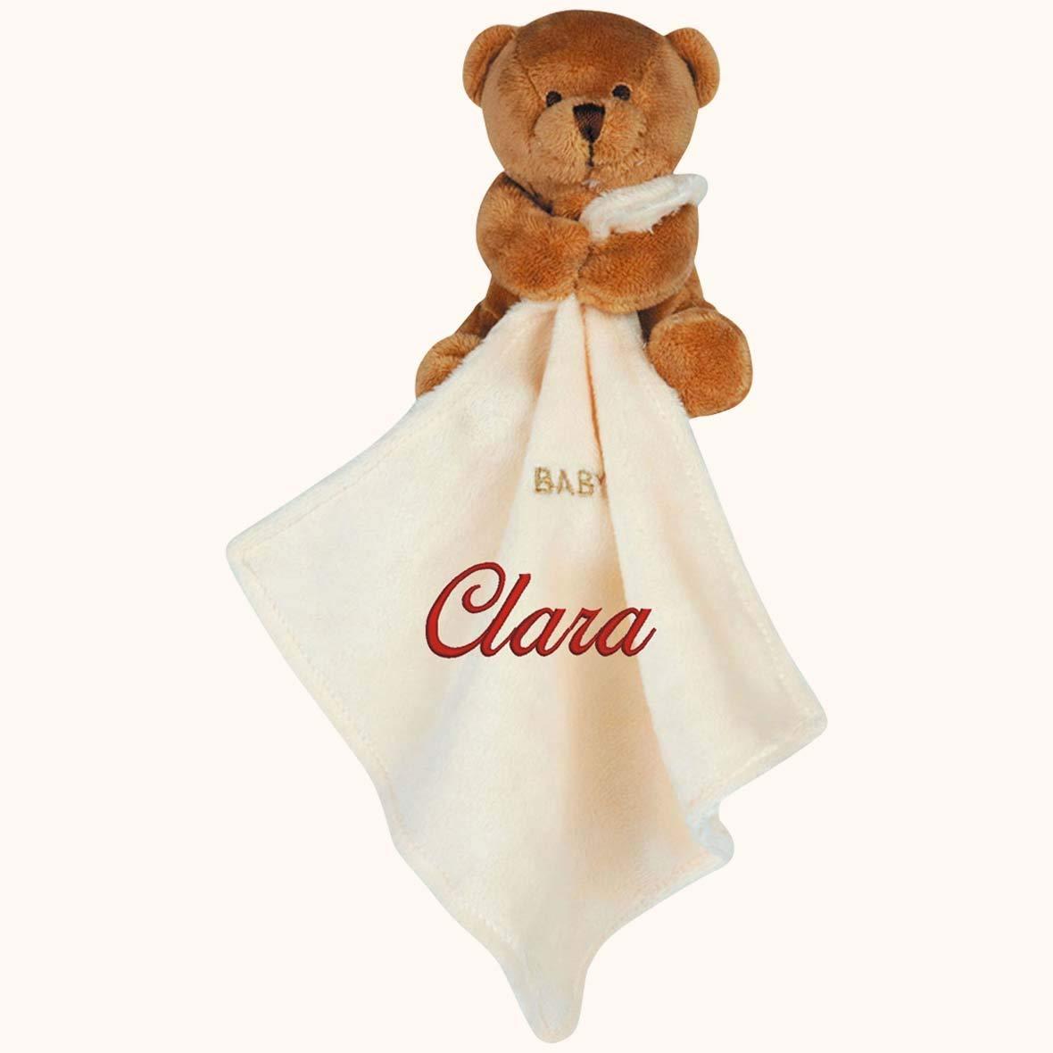 Doudou à broder avec prénom - Ourson marron - cadeau liste de naissance - cadeau personnalisé naissance-cadeau personnalisé bébé-cadeau Noël bébé